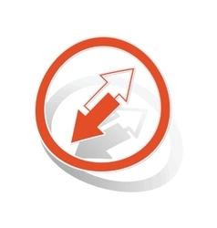 Opposite arrows sign sticker orange vector