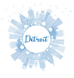 outline detroit michigan usa city skyline with vector image