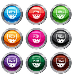 pizza badge or signboard set 9 collection vector image