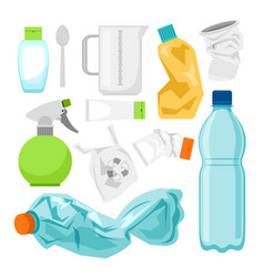 Plastic waste collection on white plastic bottles vector