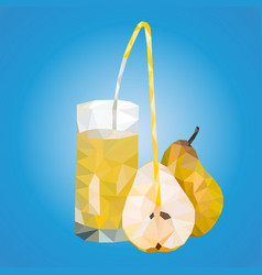 polygonal triangles ripe pears and a glass with vector image