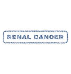 Renal cancer textile stamp vector