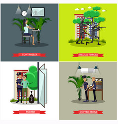set catching thief concept posters in vector image