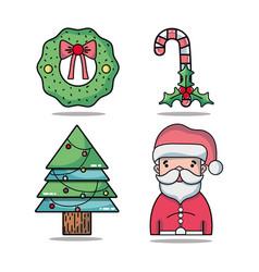 set christmas decoration design to celebration vector image