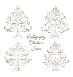 Set of Calligraphy Christmas trees vector