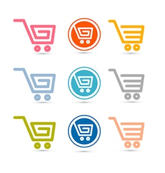 Shopping Cart Basket Web Symbols Icons Set vector image