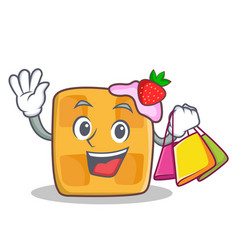 Shopping waffle character cartoon design vector