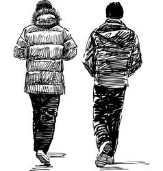 Sketch casual pedestrians vector