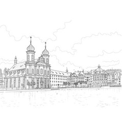sketch of the lucerne embankment vector image