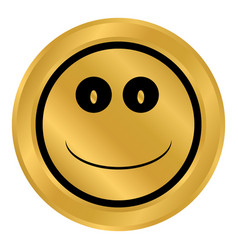 smile face circle button vector image