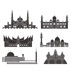 southeast asia isolated asian buildings on vector image