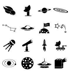 Space icons set simple style vector image