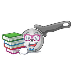 Student with book pizza cutter knife isolated on vector