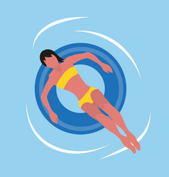 Summertime woman in bikini swimsuit round toy vector