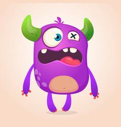 Surprised cute cartoon monster icon vector