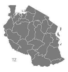 Tanzania regions map grey vector