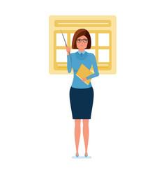 Teacher stands near an information stand vector