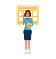 teacher stands near an information stand with vector image