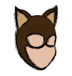 Teenager in the cat suit mask ears halloween vector