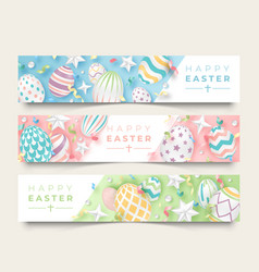Three easter horizontal banners with realistic vector
