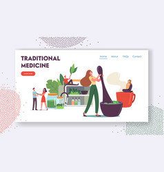 Traditional medicine landing page template vector