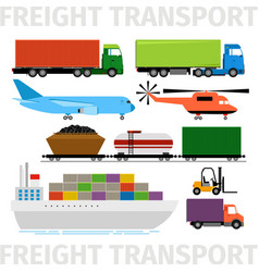 Transport vehicles plane and train truck vector