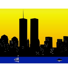 Twin towers in the united states of america vector