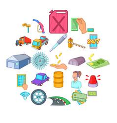 vehicle maintenance icons set cartoon style vector image