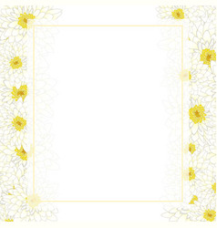 white chrysanthemum banner card border vector image