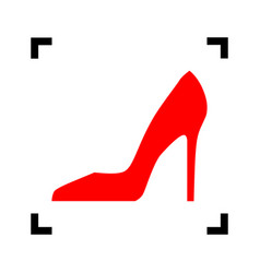 woman shoe sign red icon inside black vector image