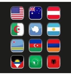 World flags icons set name country of letter vector