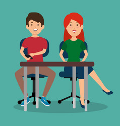 young couple in the workplace office vector image