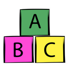 baby cubes icon cartoon vector image vector image