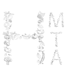 decorative font with fruit and vegetable letter m vector image vector image