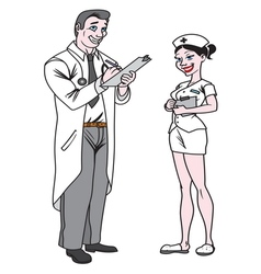 doctor and nurse1 resize vector image vector image