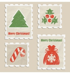 Christmas stamps vector image