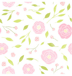 cute peony and leaves background vector image vector image