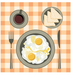 Fried eggs in a plate coffee and bread vector image vector image