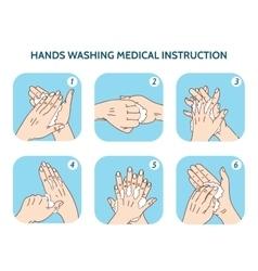 Hands washing medical instruction icons set vector image vector image