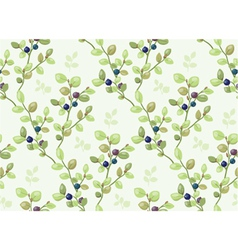 Tiled pattern with blueberry bush vector image