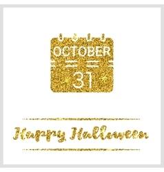 Halloween gold textured calendar icon vector image vector image