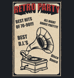 retro party vintage gramophone on grunge vector image vector image