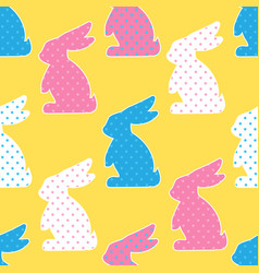 seamless pattern with colorful rabbits on yellow vector image vector image