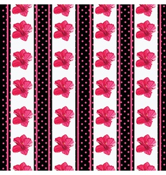 Seamless wallpaper pattern with flowers on black vector image vector image