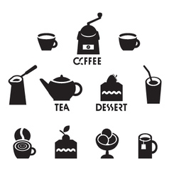 Tea coffee dessert vector