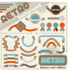 Collection of labels and ribbons in retro vintage vector image