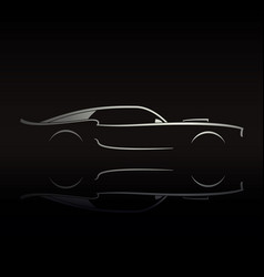muscle car silhouette on black background vector image