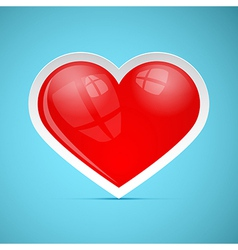 Red 3d Retro Heart on Blue Background vector image