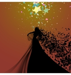 Silhouette of Opera Singer and Musical Symbols vector image