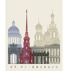 St Petersburg skyline poster vector image vector image